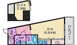 フォレステージュ江坂公園 7階ワンルームの間取り