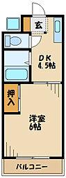 小田急小田原線 玉川学園前駅 徒歩13分の賃貸アパート 1階1DKの間取り