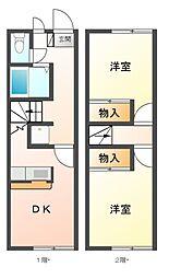 愛知県豊川市一宮町宮前の賃貸アパートの間取り
