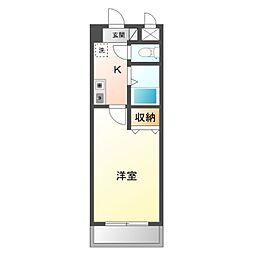 名鉄名古屋本線 矢作橋駅 徒歩6分の賃貸マンション 5階1Kの間取り
