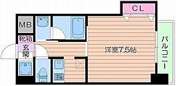 Osaka Metro谷町線 四天王寺前夕陽ヶ丘駅 徒歩4分の賃貸マンション 4階1Kの間取り