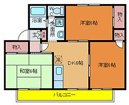 千葉県柏市増尾6丁目の賃貸アパートの間取り