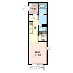 マークリーサB 2階ワンルームの間取り