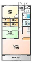 愛知県豊橋市弥生町字東豊和の賃貸マンションの間取り