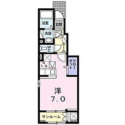 愛知環状鉄道 北野桝塚駅 徒歩7分の賃貸アパート 1階ワンルームの間取り