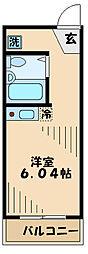 京王相模原線 京王堀之内駅 徒歩10分の賃貸アパート 2階1Kの間取り