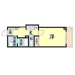 神戸市海岸線 ハーバーランド駅 徒歩10分の賃貸マンション 3階1Kの間取り