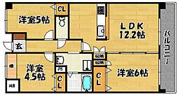 阪急京都本線 上新庄駅 徒歩6分の賃貸マンション 6階3LDKの間取り