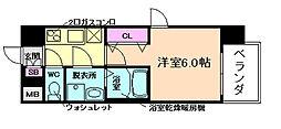 JR東西線 海老江駅 徒歩7分の賃貸マンション 3階1Kの間取り