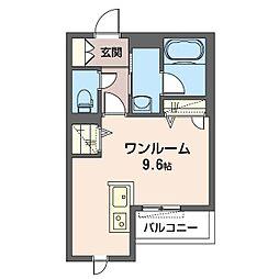 仮)幸区柳町シャーメゾン 1階ワンルームの間取り