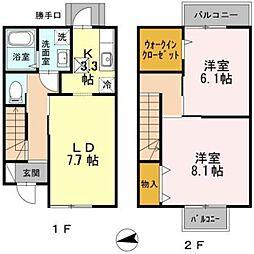 大阪府大阪市東住吉区山坂2丁目の賃貸アパートの間取り