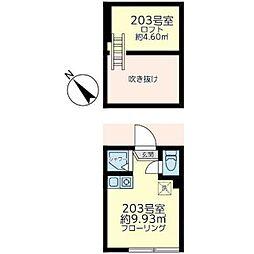 東京メトロ丸ノ内線 南阿佐ヶ谷駅 徒歩9分の賃貸アパート 2階ワンルームの間取り