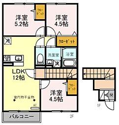西武池袋線 稲荷山公園駅 徒歩14分の賃貸アパート 2階3LDKの間取り