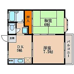 滋賀県長浜市国友町の賃貸アパートの間取り