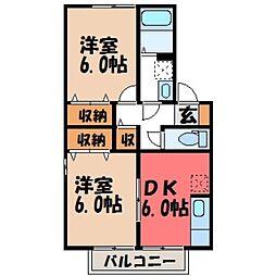 栃木県小山市神鳥谷5の賃貸アパートの間取り