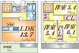 [テラスハウス] 兵庫県神戸市垂水区大町2丁目 の賃貸【/】の間取り