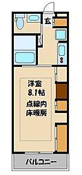 JR埼京線 中浦和駅 徒歩2分の賃貸マンション 3階1Kの間取り