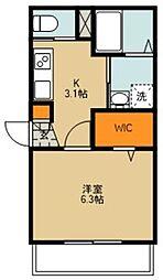 サンハウス朝霞台 3階1Kの間取り