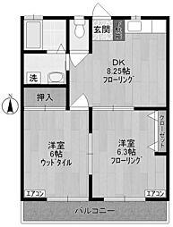 神奈川県川崎市多摩区中野島3丁目の賃貸アパートの間取り