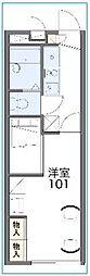 東武野田線 大和田駅 徒歩15分の賃貸アパート 2階1Kの間取り