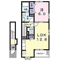 サンパティークII 2階1LDKの間取り