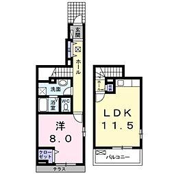 デュプレックス セイザン 2階1LDKの間取り