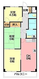 神奈川県平塚市田村5丁目の賃貸マンションの間取り