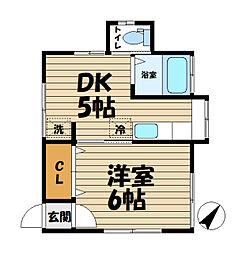菅野アパート[B-1号室]の間取り