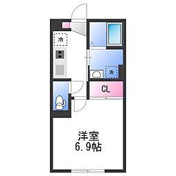 JR阪和線 北信太駅 徒歩3分の賃貸アパート 1階1Kの間取り