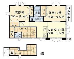 東京都稲城市平尾2丁目の賃貸アパートの間取り
