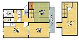 レストハイツA棟[2階]の間取り