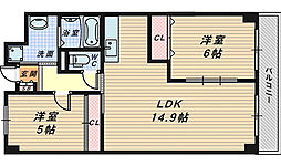 大阪府堺市北区蔵前町3丁の賃貸マンションの間取り