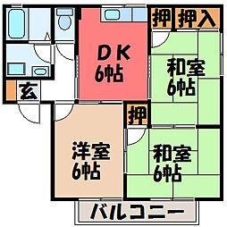 栃木県宇都宮市宮原5丁目の賃貸アパートの間取り
