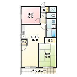 Osaka Metro谷町線 出戸駅 徒歩3分の賃貸マンション 7階2LDKの間取り