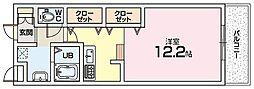 Mプラザ津田駅前十二番館 4階ワンルームの間取り