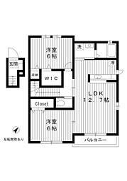 東京都練馬区土支田2丁目の賃貸アパートの間取り