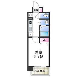 アービングNeo平野駅前 8階1Kの間取り