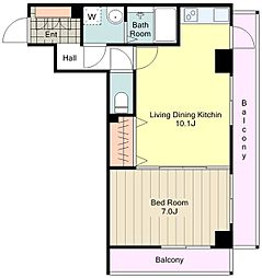 JR中央線 八王子駅 徒歩9分の賃貸マンション 4階1LDKの間取り