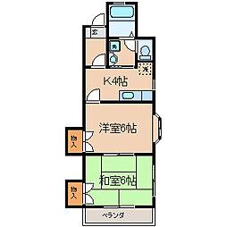 神奈川県横浜市保土ケ谷区花見台の賃貸アパートの間取り