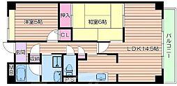 大阪府吹田市上山手町の賃貸マンションの間取り