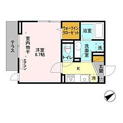 仮)D-room新井 1階1Kの間取り