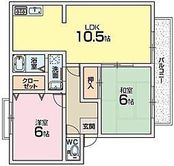 サンガーデン河端A棟[1階]の間取り