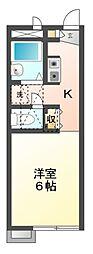愛知県豊橋市一色町字西内張の賃貸アパートの間取り