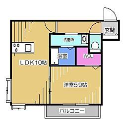 La・Vita Nakamozu 3階1LDKの間取り