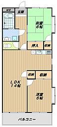プレジオ王塚台[3階]の間取り