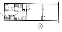 六本木グランドタワーレジデンス 5階ワンルームの間取り