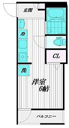 小田急小田原線 千歳船橋駅 徒歩10分の賃貸マンション 2階ワンルームの間取り
