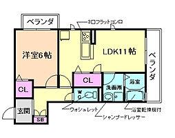 パークサイド白扇[3階]の間取り