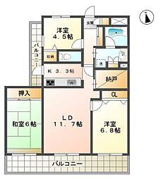 愛知県豊田市久保町4丁目の賃貸マンションの間取り
