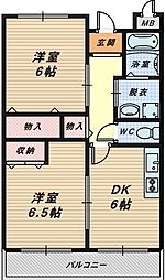 大阪府堺市中区平井の賃貸マンションの間取り